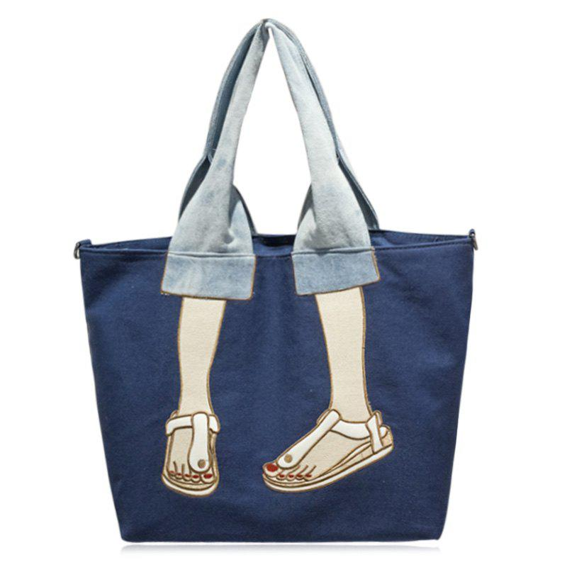 Embroidery Canvas Funny Tote Bag - BLUE