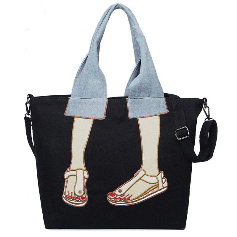 Embroidery Canvas Funny Tote Bag - BLACK