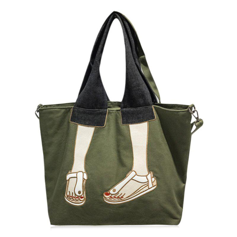 Embroidery Canvas Funny Tote Bag - GREEN