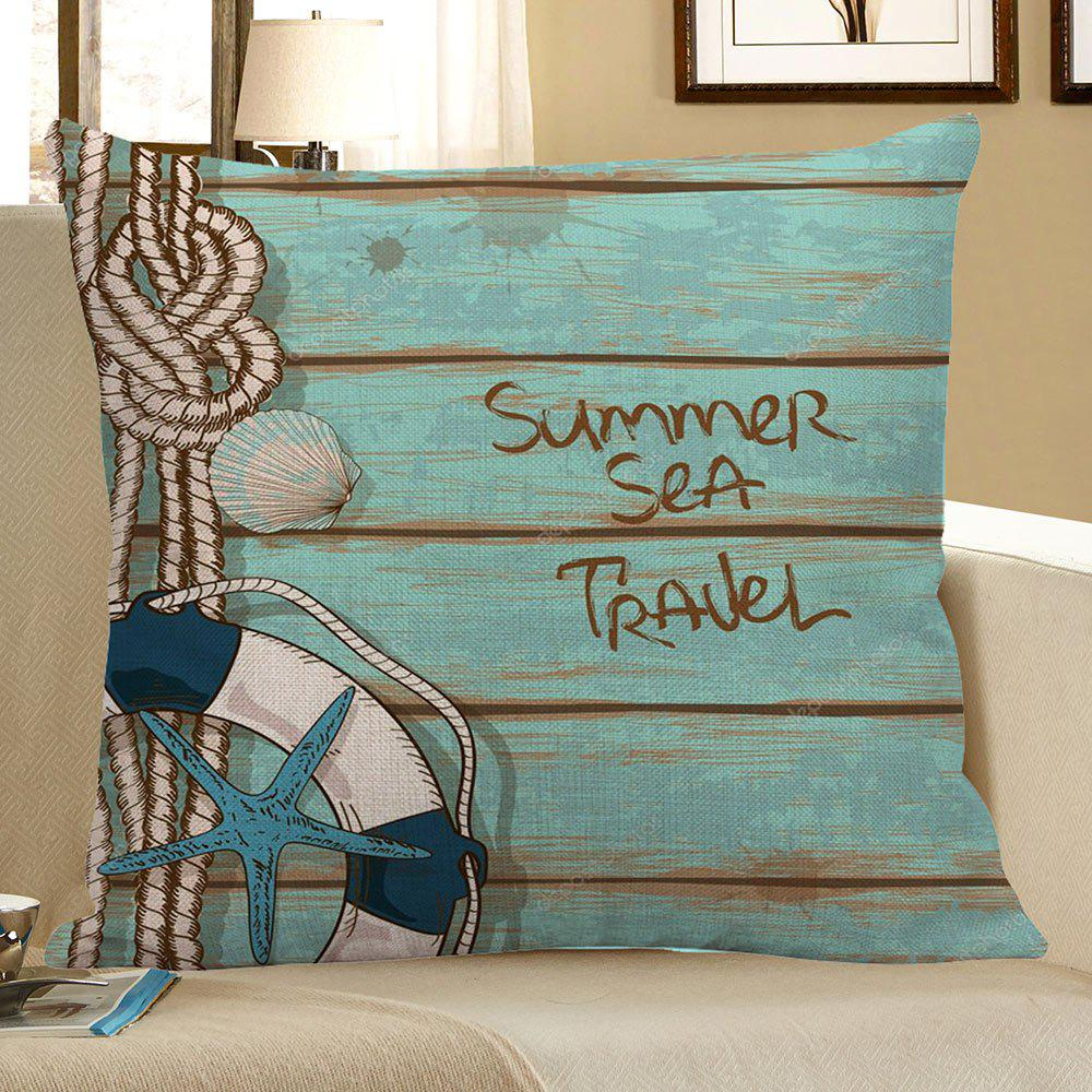 Starfish Wood Grain Print Pillow Case - LIGHT BLUE 45*45CM