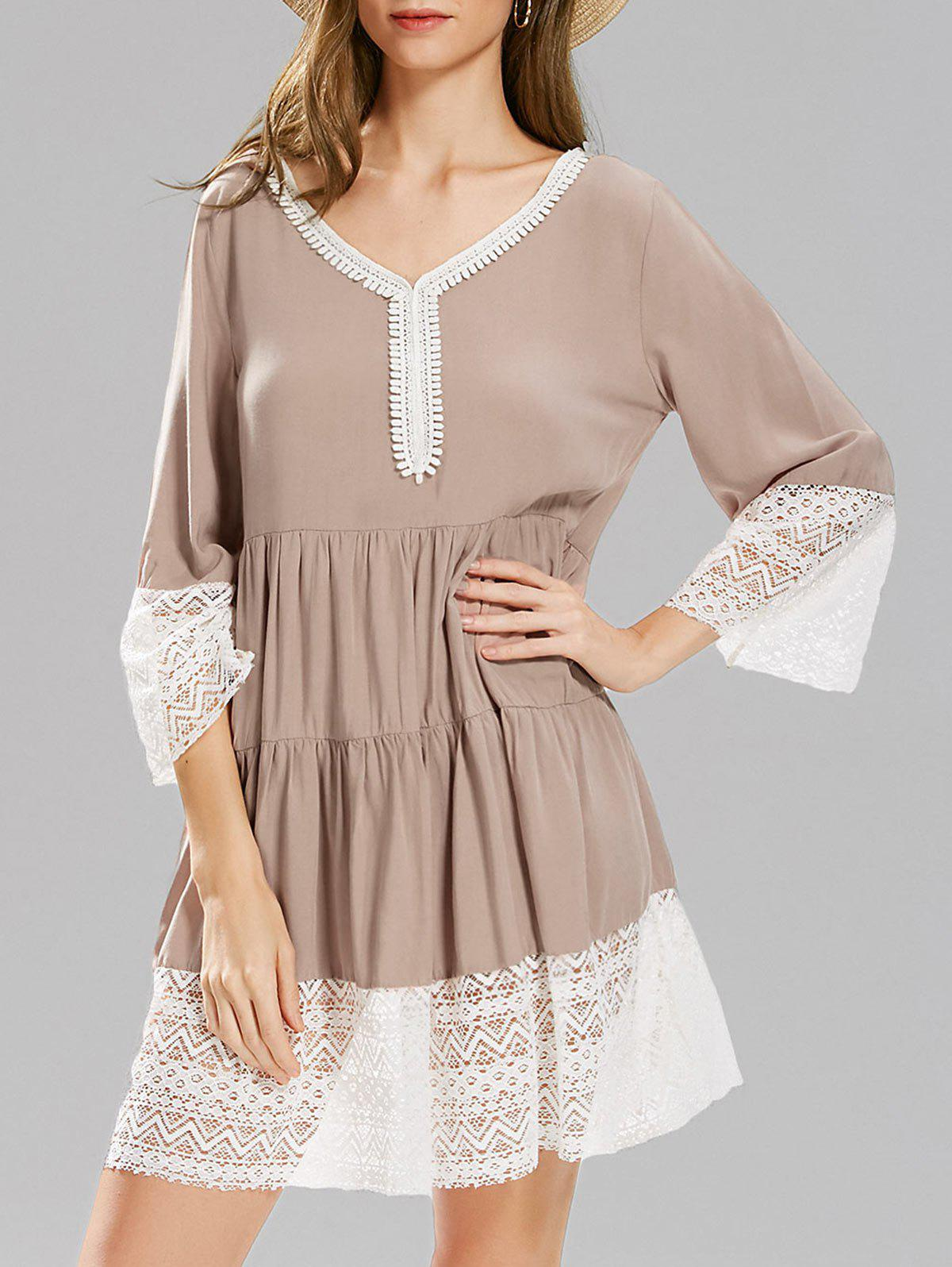 Lace Panel Long Sleeve Smock Dress smock long sleeve a line dress