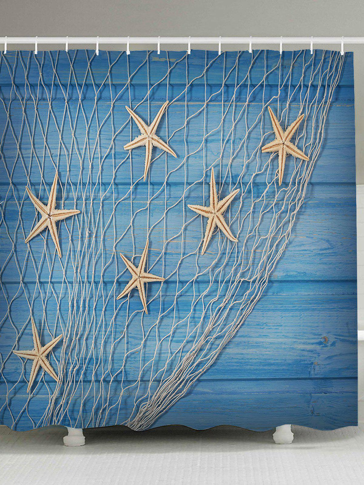 Starfish Fishing Net Wood Grain Nautical Shower Curtain starfish fishing net wood grain nautical shower curtain
