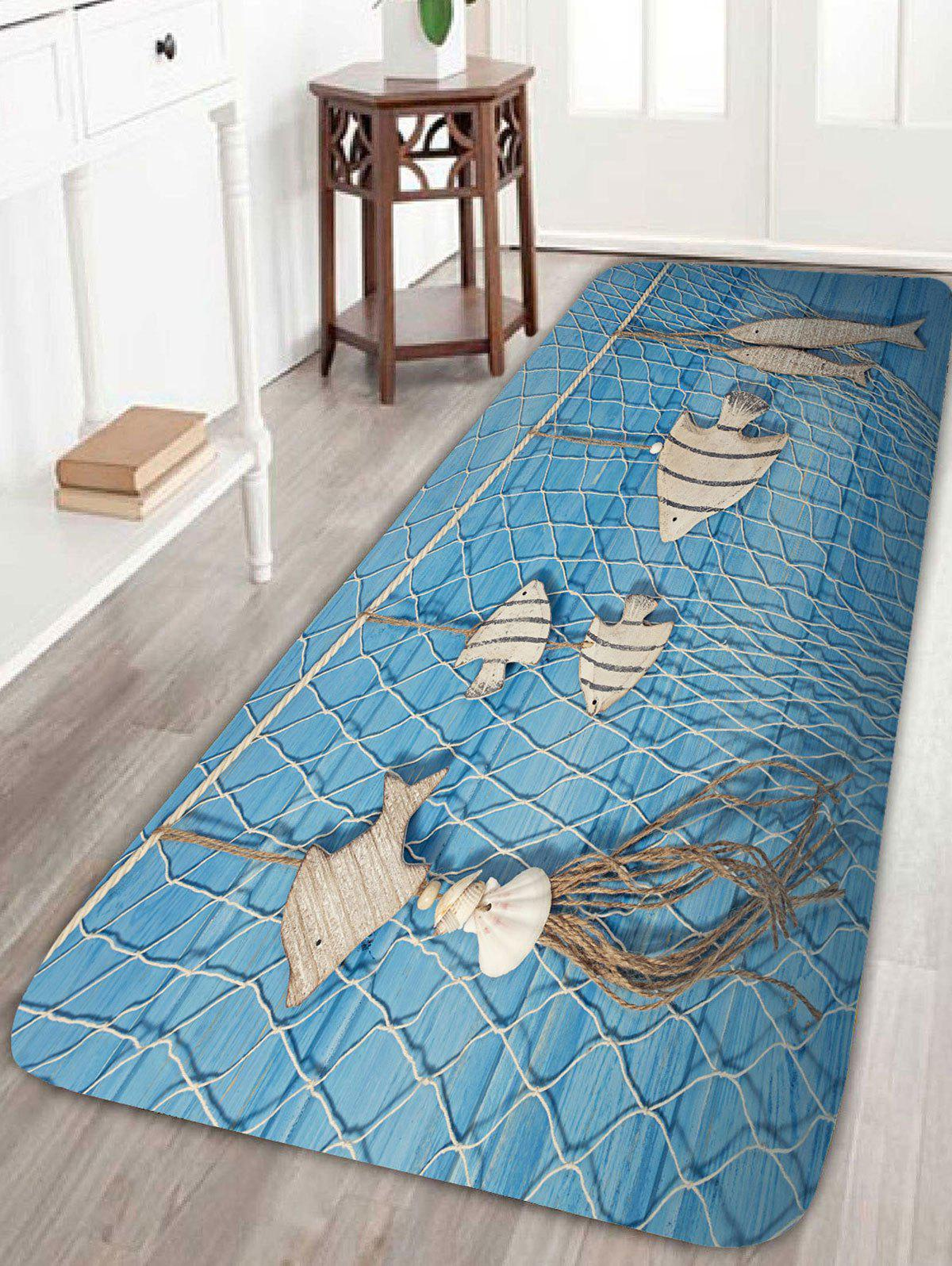 Wood Fish Fishing Net Print Bath Rug - LIGHT BLUE W16 INCH * L47 INCH