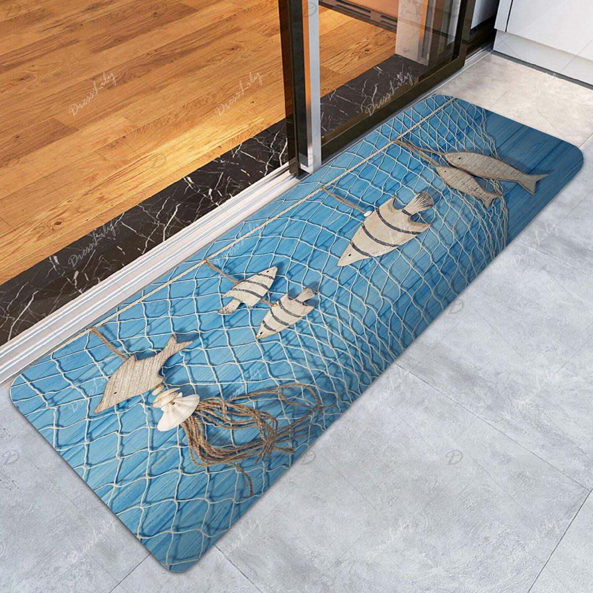 2018 Wood Fish Fishing Net Print Bath Rug LIGHT BLUE W
