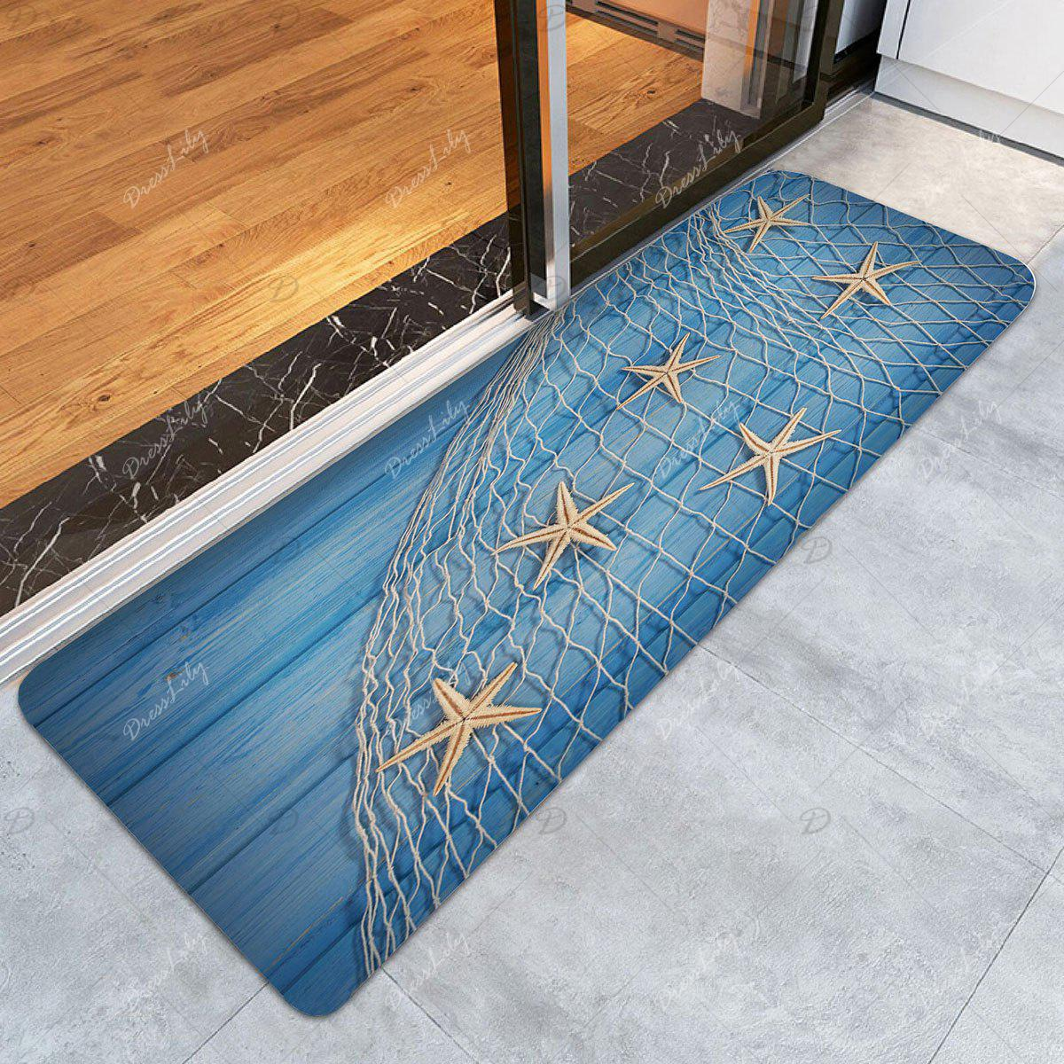 2018 tapis de bain motif filet de p che et etoiles de mer sur plancher en bois bleu clair. Black Bedroom Furniture Sets. Home Design Ideas