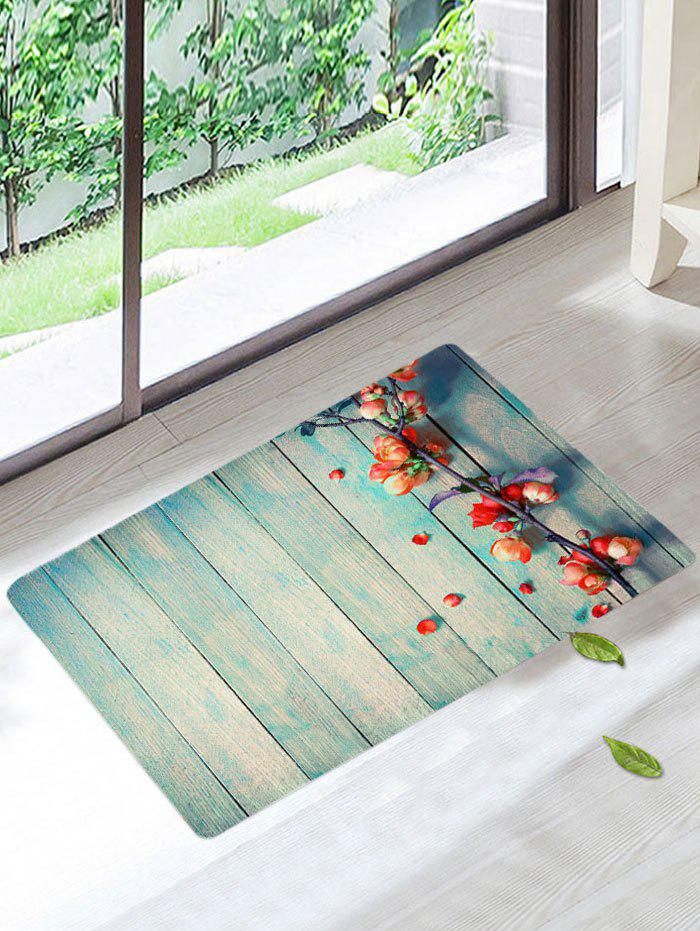 Nonslip Wood Grain Floral Rug - LIGHT BLUE W20 INCH * L31.5 INCH