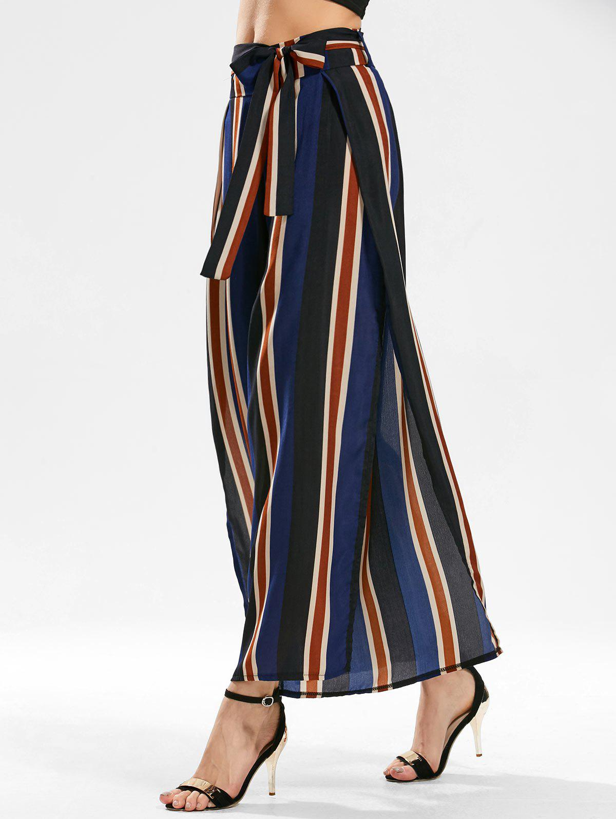 Side Slit Stripe Wide Leg Pants - BLUE XL