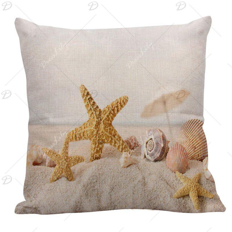 Home Decor Starfish Conch Printed Pillow Case - GINGER 45*45CM