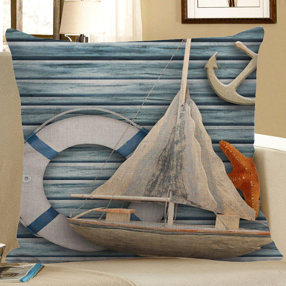 Starfish Sailboat Anchor Wood Grain Print Pillow Case starfish beach style pillow case