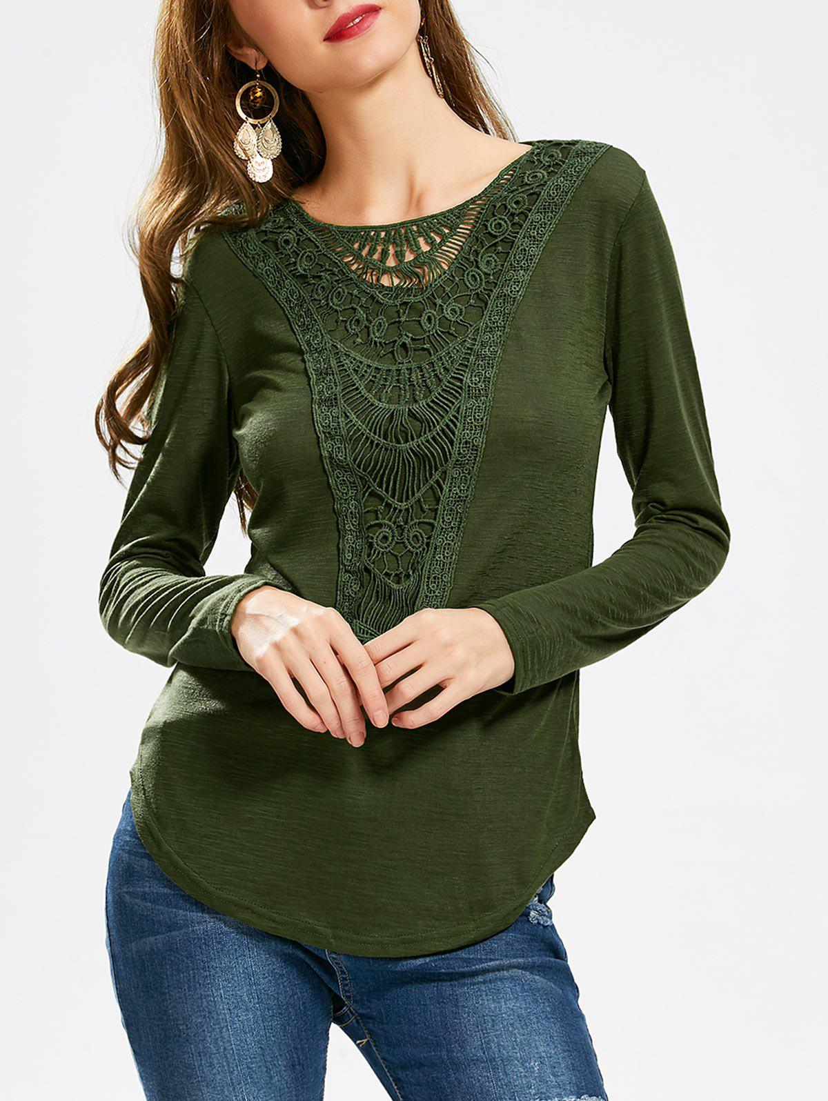 Concise Scoop Neck Hollow Out Crochet Spliced Solid Color T-Shirt For Women - ARMY GREEN XL