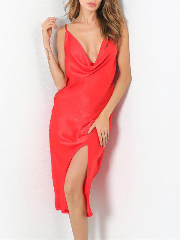 Low Cut Front Slit Club Night Dress - RED S