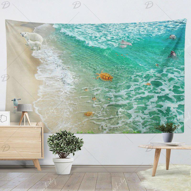 Home Decorative Wall Hanging Animal Beach Tapestry - GREEN W59 INCH * L59 INCH