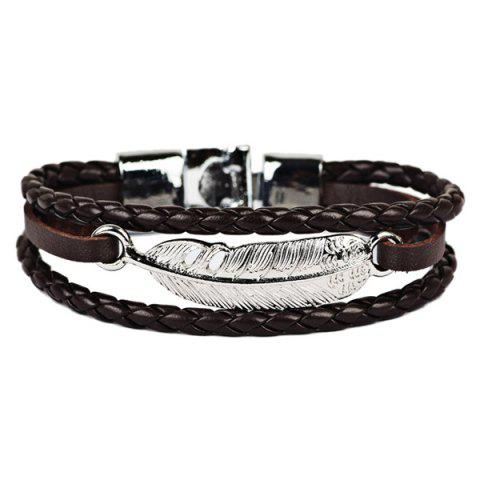 Artificial Leather Feather Braid Rope Bracelet - BROWN