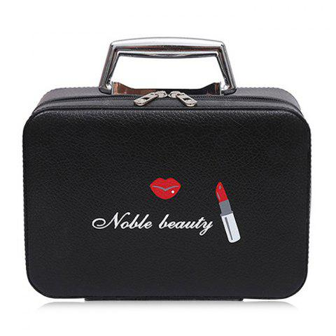 Top Handle PU Leather Makeup Box - BLACK