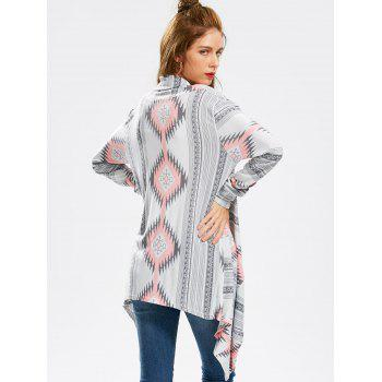 Vintage Long Sleeve Geometric Printed Asymmetric Cardigan For Women - PINK S