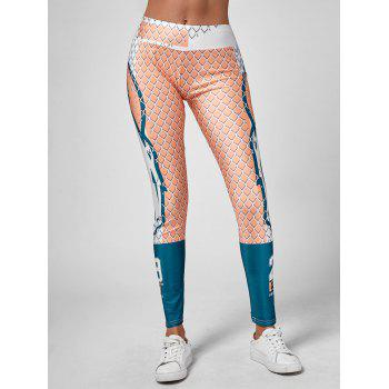 Grid Graphic Stretchy Leggings