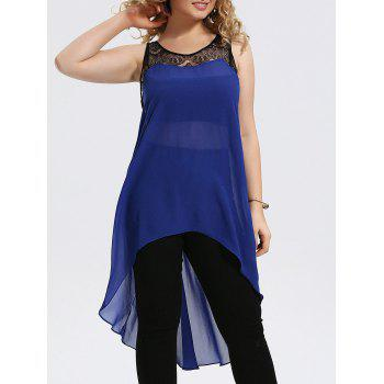 Plus Size Lace Trim Chiffon High Low Tank Top