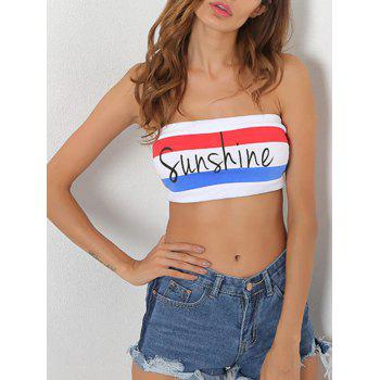 Sunshine Print Striped Tube Bandeau Top - S S