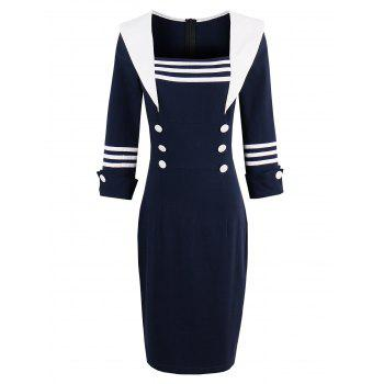Square Collar Sheath Dress with Sleeves