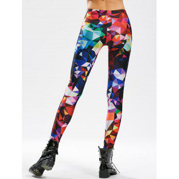 Geometric Print Skinny Ankle Length Leggings - ONE SIZE ONE SIZE