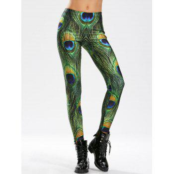 High Waisted Peacock Feather Print Skinny Leggings