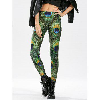 High Waisted Peacock Feather Print Skinny Leggings - ONE SIZE ONE SIZE