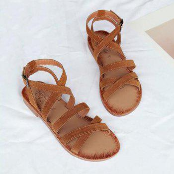 Cross Straps Faux Leather Sandals