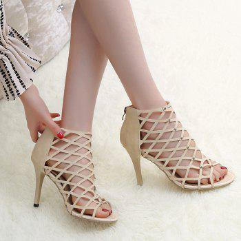Studded Hollow Out Zipper Sandals