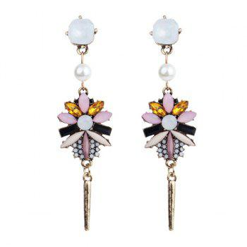 Artificial Crystal Pearl Resin Floral Earrings