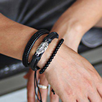 Ensemble de bracelets en perles en cuir Faux Leather Feather