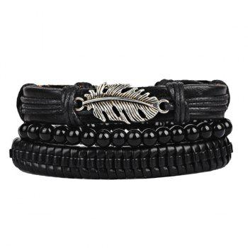 Faux Leather Feather Rope Beaded Bracelet Set - BLACK