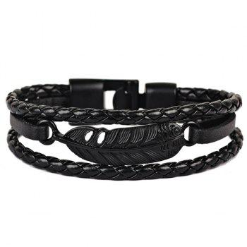 Artificial Leather Feather Braid Rope Bracelet - BLACK BLACK