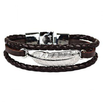 Artificial Leather Feather Braid Rope Bracelet
