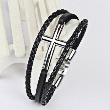 Faux Leather Cross Braid Rope Bracelet -  SILVER