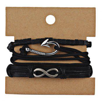 Faux Leather Infinite Rope Bracelet Set -  BLACK