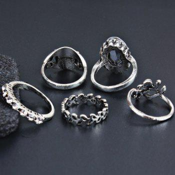 Faux Gem Vintage Oval Finger Ring Set -  SILVER
