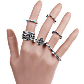 Bohemian Geometric Engraved Finger Ring Set - SILVER SILVER