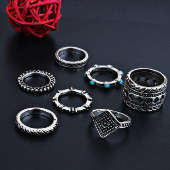 Bohemian Geometric Engraved Finger Ring Set -  SILVER