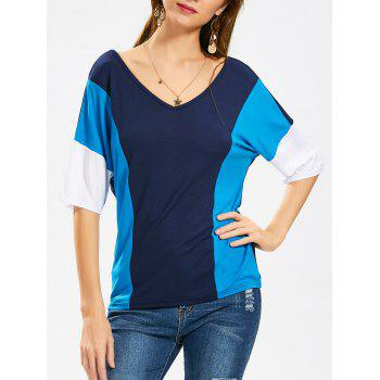 Casual Color Block V Neck Tee
