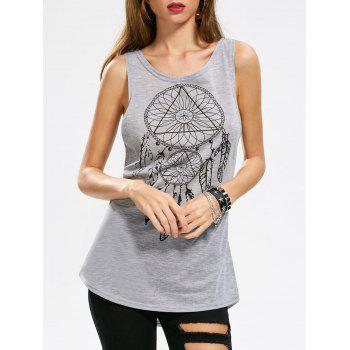 Totem Print Marled Cut Out Tank Top