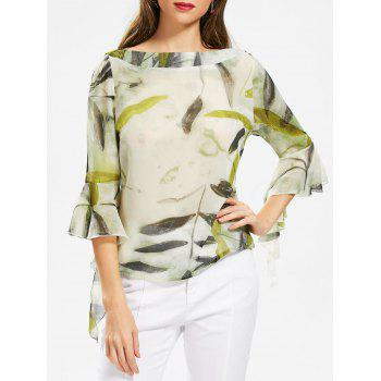 Plant Print Chiffon Slash Neck Top
