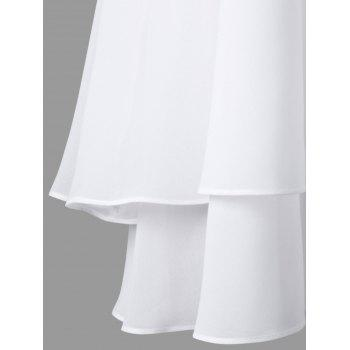 High Neck Layered Chiffon Swing Dress - WHITE M