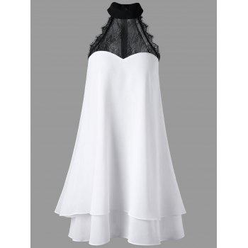 High Neck Layered Chiffon Swing Dress - WHITE WHITE