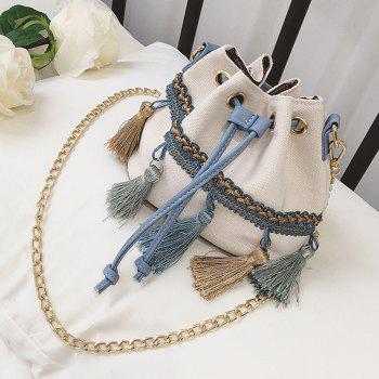 Canvas Tassel Mini Bucket Bag -  WHITE