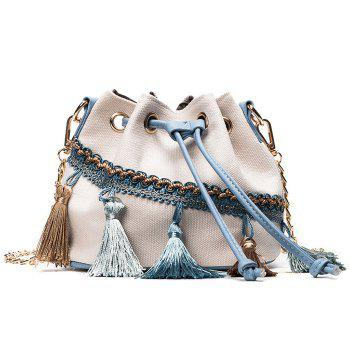 Canvas Tassel Mini Bucket Bag