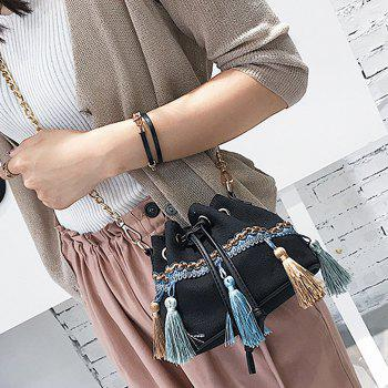 Canvas Tassel Mini Bucket Bag -  BLACK
