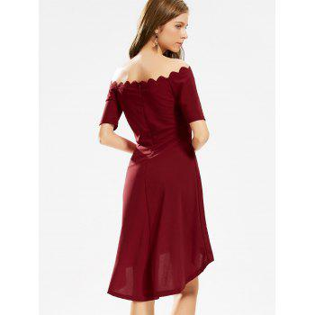 Off The Shoulder High Low Scalloped Dress - Rouge vineux XL