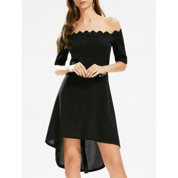 Off The Shoulder High Low Scalloped Dress