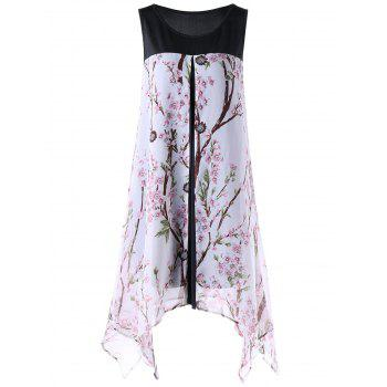 Plus Size Tiny Floral Sleeveless Handkerchief Dress