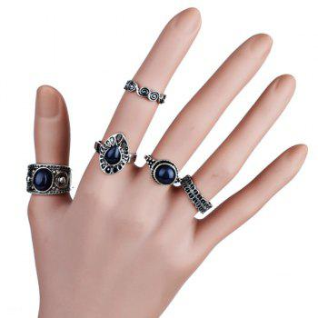 Faux Sapphire Finger Vintage Ring Set - SILVER SILVER